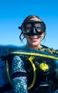 Woman SCUBA Diving in Ocean Koh Tao